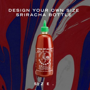 SIZE Records sriracha soße bottle