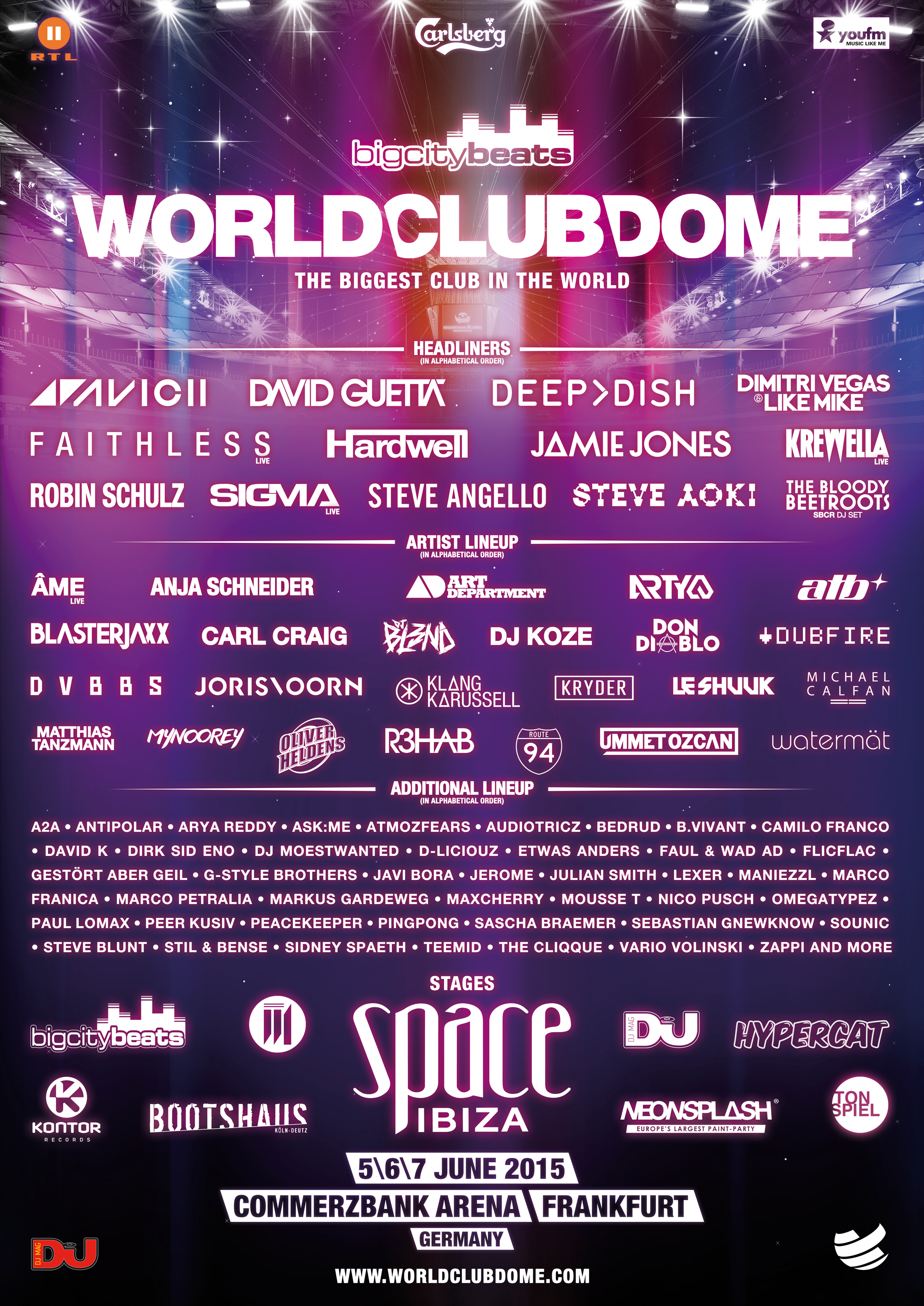 World Club Dome Final Line Up Space Ibiza avicii deutschland