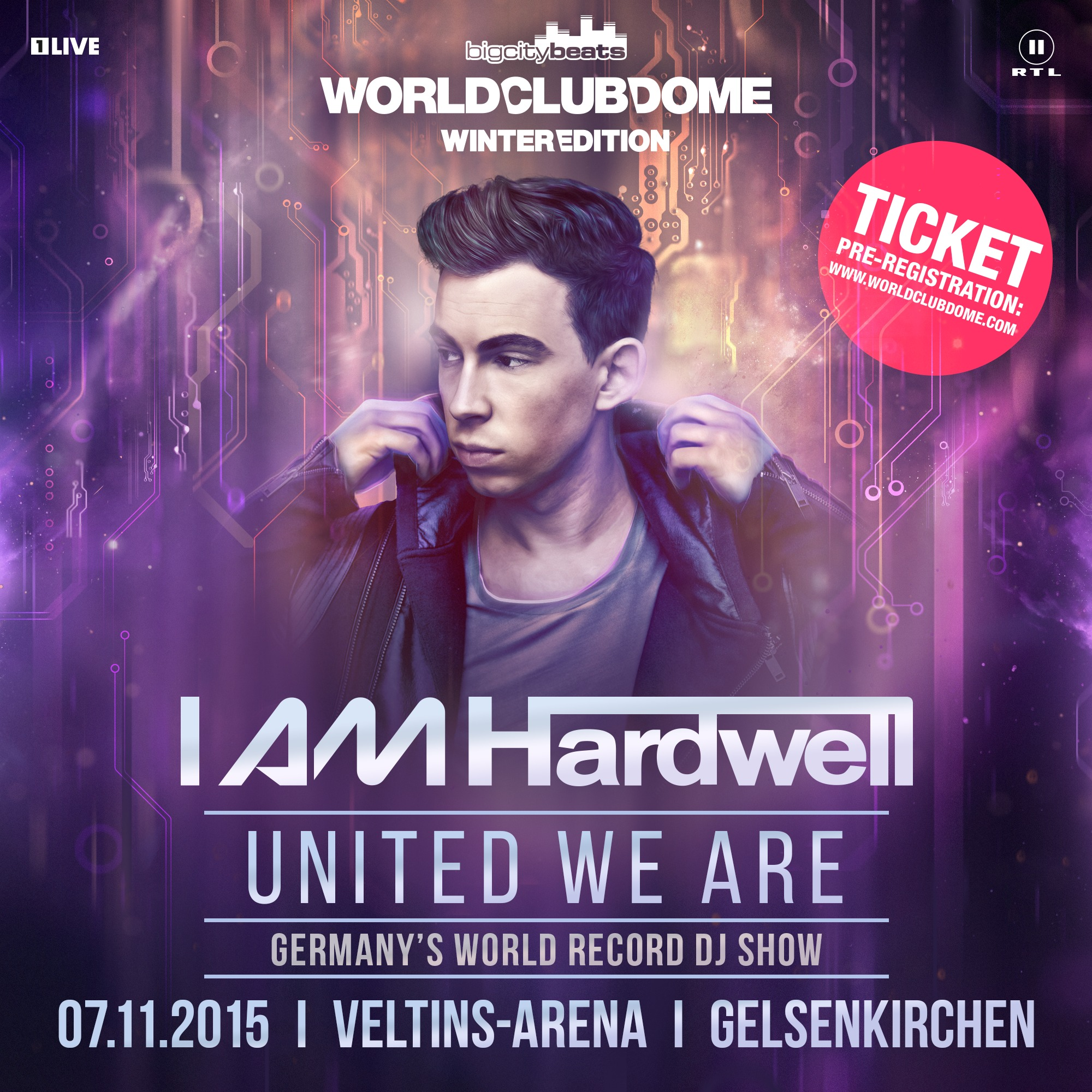 Hardwell - United we are - iam hardwell poster gelsenkirchen tickets official