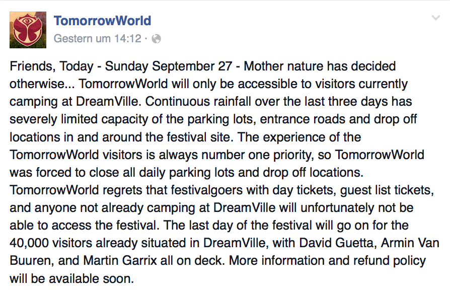 Stellungname TomorrowWorld