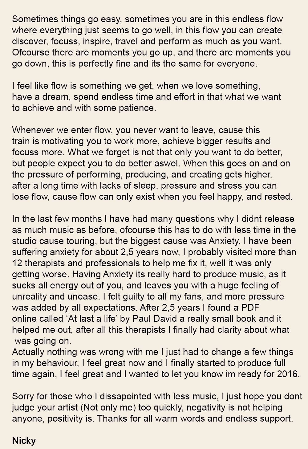 nicky romero letter to his fans anxiety