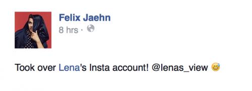 Felix Jaehn übernimmt Lenas Account