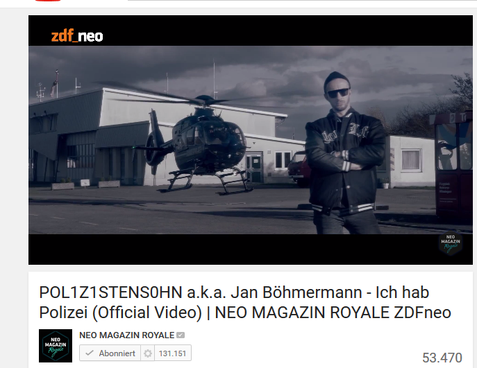 ichhabpolizei jan böhmermann official music video