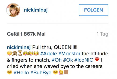 Nicki Minaj ist stolz auf Adeles Rap - Inszenierung