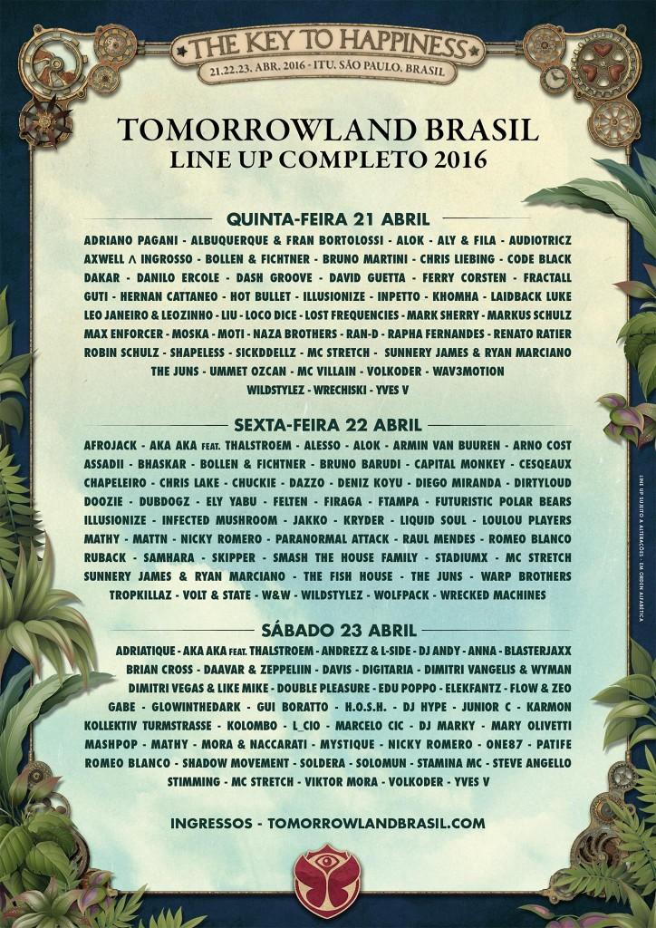 LineUp Tomorrowland Brazil