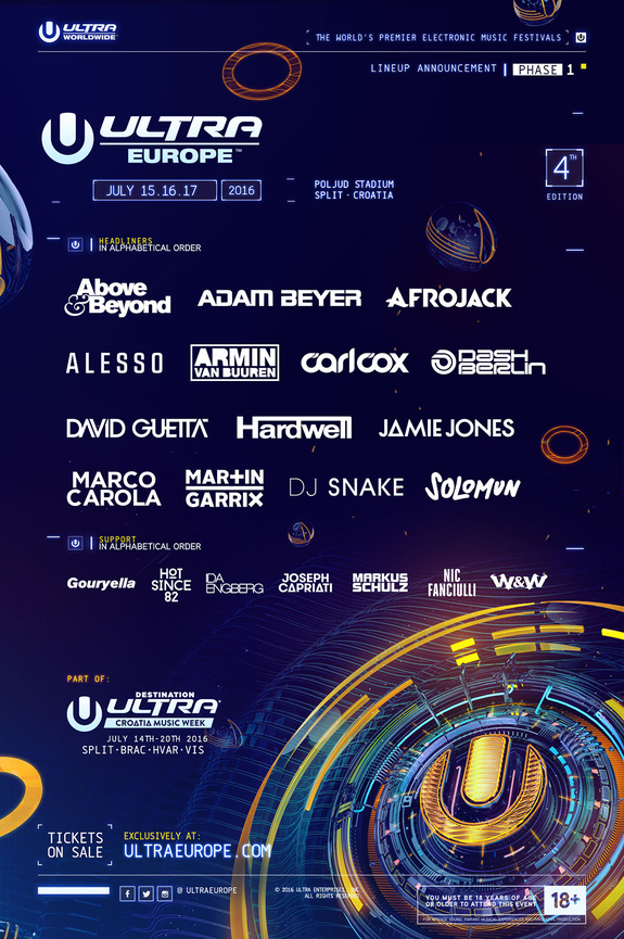 Ultra Europe Line Up 2016 Phase I