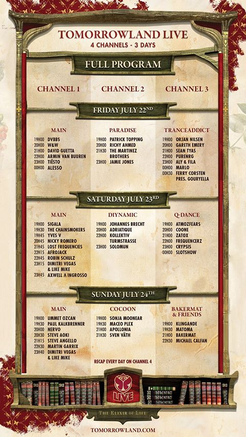 Tomorrowland 2016 - Livestream alle DJs Alle Stages
