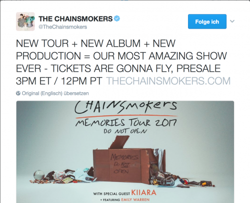 The Chainsmokers Ankündigung Tour 2017 Album