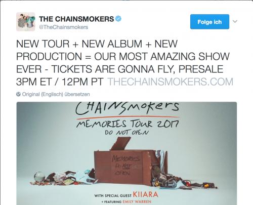 The Chainsmokers Ankündigung Tour 2017 Album