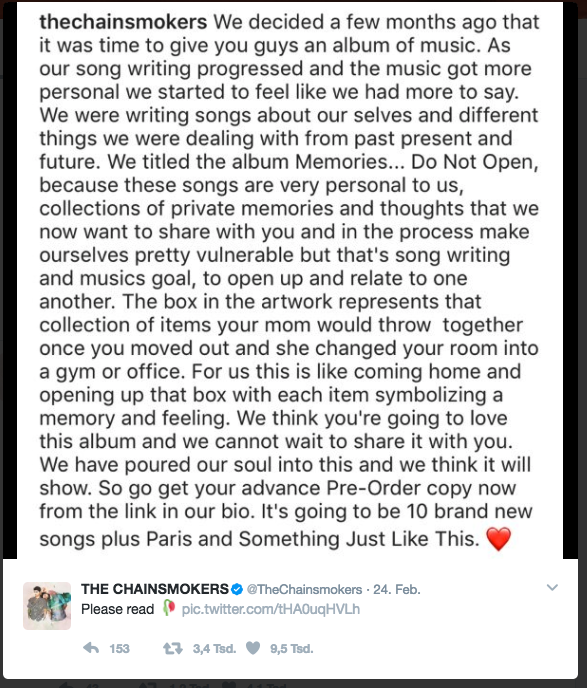 Chainsmokers memories do not open emotional instagram