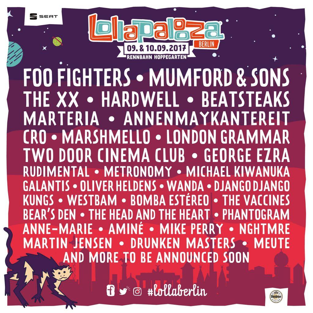 Das Lineup von Lollapalooza.