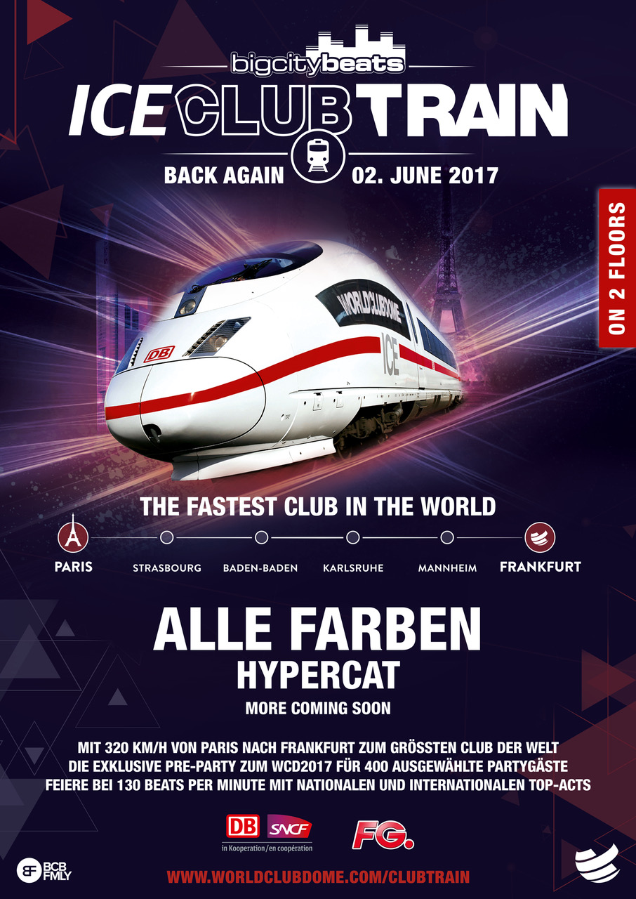 Zug Train BigCityBeats World Club Dome 2017 Neu lila weiß Deutsche Bahn Headlines Alle Farben RTL II
