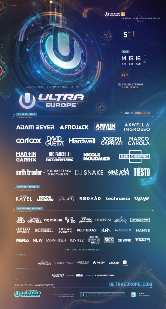 Ultra Music Festival Party LineUp Fun Love Summer Vibes Afrojack Armin Axwell Ingrosso Guetta Carl Hardwell Garrix Snake Tiesto Aoki Blue Yellow United Europe Croatia USA Miami